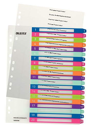 Leitz Register für A4, PC-beschriftbares Deckblatt und 20 Trennblätter, Taben mit Zahlenaufdruck 1-20, Überbreite, Mehrfarbig, Polypropylen, WOW, 12450000