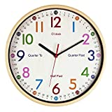 JoFomp Teaching Clock for Kids | 12 inch EducationalWall Clock for Learning Time, Silent Non-Ticking Quartz DecorativeWall Clock for Teacher's Classrooms or Children's Bedrooms (Yellow)