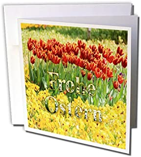 3dRose Image of Happy Easter in German On Rows of Tulips - Greeting Card, 6