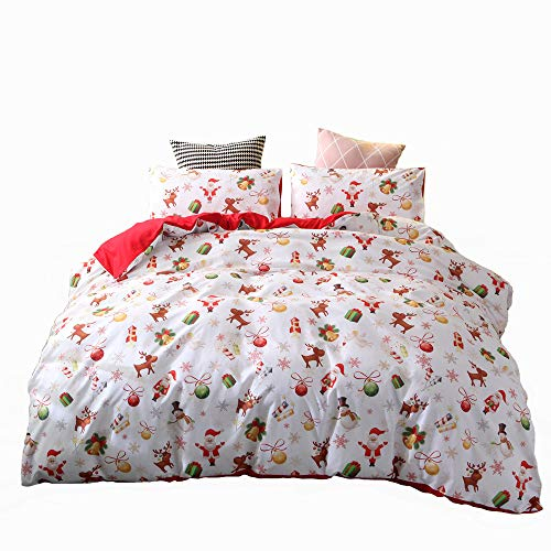 ADASMILE A & S Christmas Deer Printed Duvet Cover Set Twin Size with 1 Sham Santa Claus Pattern Bedding Cover Set Xmas Home Decor Kids