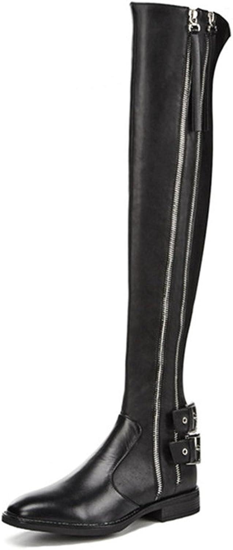 Nine Seven Genuine Leather Women's Round Toe Flat Zippers Comfort Handmade Buckles Over The Knee Boots