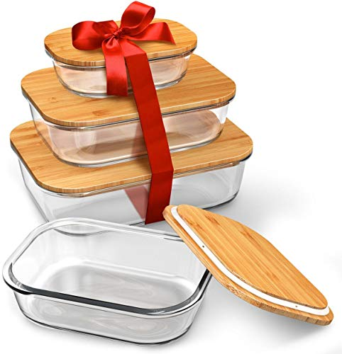 Greeny Chef Glass Food Storage Containers with Lids (Bamboo) - 4 Piece Value Set