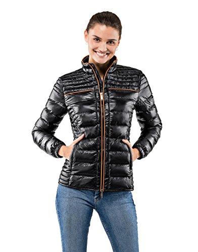 Vincenzo Boretti Damen Steppjacke Slim-fit tailliert Übergangs-Jacke leicht dünn weich warm gefüttert für Frühling Herbst modern elegant - EIN Style für Business und Freizeit schwarz L