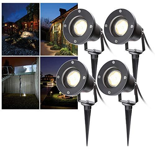 Hengda Gartenleuchte Led Gartenstrahler Warmweiß 4er Pack LED Gartenbeleuchtung IP65 4W GU10 Mit Erdspieß Stecker Aussen Wiese Für Aussen,Garten,Wiese