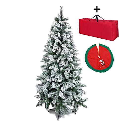Totò Piccinni Albero di Natale INNEVATO FOLTISSIMO Berna, ALTISSIMA QUALITA', Artificiale Effetto Realistico, Facile Montaggio, Ignifugo, Incluso Borsone e CopriBase (150)