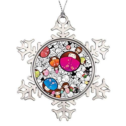 None-brands Cusotom Onament Quarantine Christmas Stata Ornament Kokeshi Dolls Christmas Ornaments, Snowflake Ornaments Gift Ceramic Xmas Tree Ornament