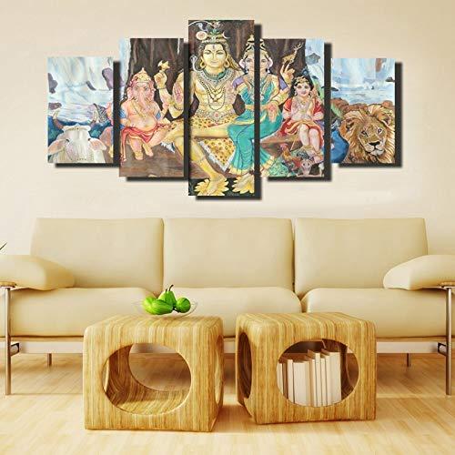 5 Panel Poster Wandkunst Hindu Gott Leinwand Malerei Wohnzimmer Home Dekoration Geschenk,Rahmenlose Malerei,30x40cmx2, 30x60cmx2, 30x80cmx1