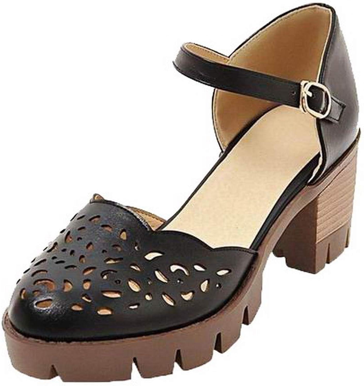 WeenFashion Women's Solid Pu Kitten-Heels Buckle Closed-Toe Sandals, AMGLX010334