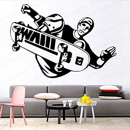 hetingyue Muursticker Sport Skateboarder Stunt Trick Flip Jump Skateboard Muursticker Sport Art Decal