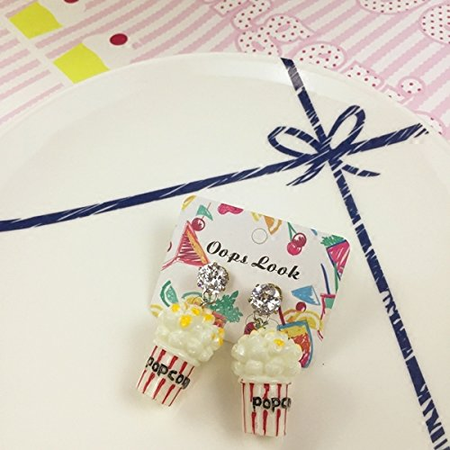 usongs Was Gel Can exklusive Custom Original Kindlike Cute Diamond Ohrringe Popcorn Food