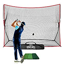 LARGE 10 X 7 HITTING AREA Once the net is set up the hitting area is 10 feet wide by 7 feet tall. This will give you plenty of room to hit any club from a driver to a lob wedge and hit the net. STRONG QUALITY NET - The base frame of this net is made ...