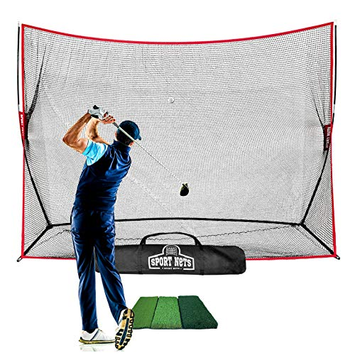 Hit Run Steal Heavy Duty Golf Net 10 X 7 Indoor Outdoor Portable Practice at Home Driving Range Golf Hitting Net with Carry Bag