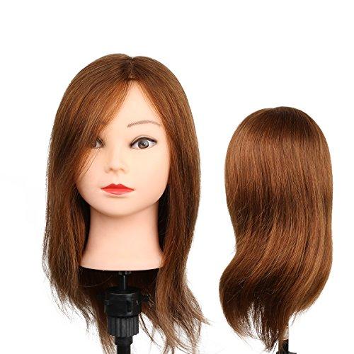 Parrucchiere Mannequin Donna di Esercizio Hairstyle - 80% Capelli Naturali e 20% Capelli Animali Per Studio Professionale in Cosmetologia - Biondo - Besmall