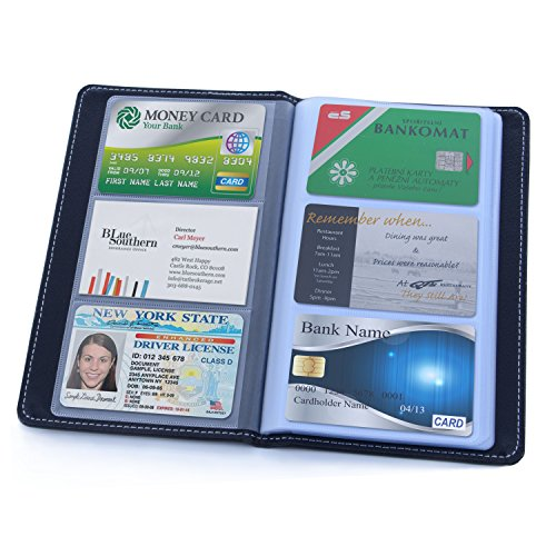 Business Card Organizer, Leather Business Card Holder Book, Portable Business Card Binder File Sleeve Storage, Professional Cards Booklet, Name Card Holder for Men & Women (60 Slots/Black)