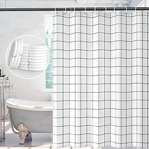 Duschvorhang, Duschvorhang Antischimmel 180x180, Waschbare Duschvorhänge Langlebig, Duschvorhang für Bad Geeignet, Weiß Duschvorhang Offene mit 12 Haken