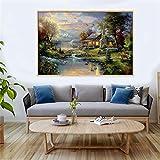 Paisaje granja con pintura sobre lienzo, carteles e impresiones de la naturaleza, cuadros artísticos de pared para la sala de estar, decoración del hogar 15,7 x 23,6 pulgadas (40 x 60 cm), sin marco