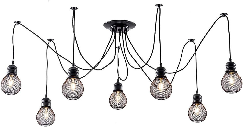 LULING Industrial Cluster Multi Pendant Light, Metal Mesh Cage Ceiling Light Adjustable DIY Spider Swag Lights Vintage Black Finish for Kitchen Island