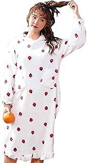 Tkusi ふわさら パジャマ ワンピース うさ耳 フード 付き 苺 柄 ミドル 丈 レディース
