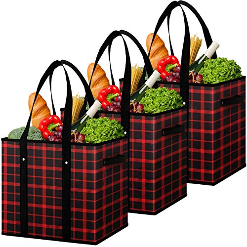 Flipzon Reusable Grocery Bags Heavy Duty Shopping Bags Boxes Totes[3 Pack],Water Resistant Storage Baskets,Collapsible Storage Boxes/Bins/Cubes for Groceries,Clothes,Books(R-B)