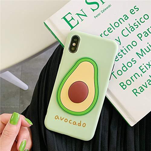 SevenPanda 3D Obst Avocado mit Umhängeband Sommer Bunt Süß Silikon Weich Cover für iPhone 10 5.8 Zoll iPhone X/XS (Nur Telefonkasten) - Avocado