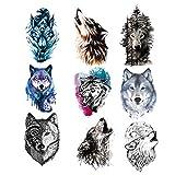 9 Piezas Tatuaje Temporal de Lobo Para Mujeres Hombres,Etiqueta Engomada del Tatuaje Temporal de Lobo para Mujeres Hombres Moda Cuerpo Arte Adultos Impermeable Mano Falso Tatuaje (21 * 15 Cm)