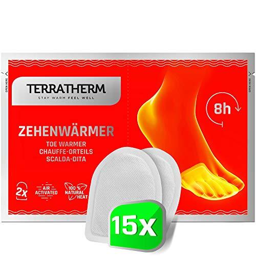 TerraTherm Fußwärmer Pads, Zehenwärmer selbstklebend für 8h warme Füße, Wärmepads Füße passen für alle Schuhe- extra dünn und angenehm weich, 15 Paar