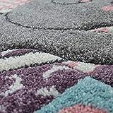 Kinderteppich Kinderzimmer Rosa Bunt Weich 3-D Patchwork Muster Bär Mond Sterne, Grösse:160x230 cm - 3