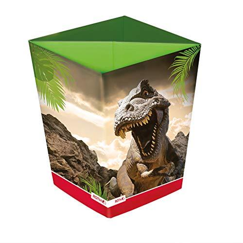 ROTH Papierkorb - Tyrannosaurus, Faltbarer Dino Papierkorb mit Trennsystem aus Pappe fürs Kinderzimmer