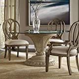 Hooker Furniture Solana Round 60' Glass Top Dining Table in Weathered Beige