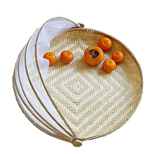 Bamboo Food Cover Basket, Handmade Bamboo Woven Bug Proof Wicker Basket, Dustproof Picnic Fruit Tray Food Bread Dishes Cover with Gauze (30cm)