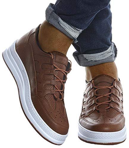 Leif Nelson Herren Schuhe für Freizeit Sport Freizeitschuhe Männer weiße Sneaker Sommer Coole Elegante Sommerschuhe Sportschuhe Weiße Schuhe für Jungen Winterschuhe Halbschuhe LN201;44, Braun