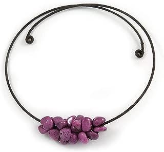 Collar con Colgante de Piedra semipreciosa con Gargantilla de Alambre Flexible (Morado) - Ajustable