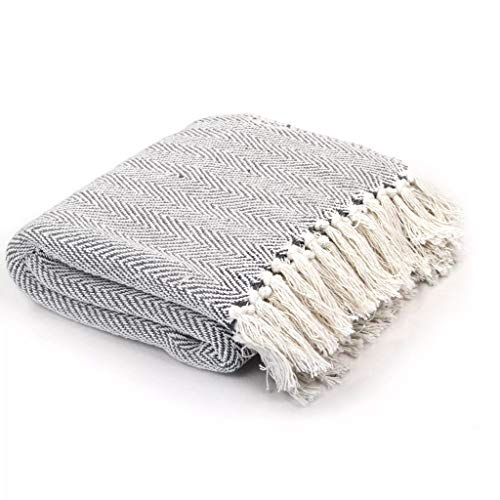Festnight Weich ?berwurf Sofaüberwurf Bettüberwurf Baumwolle Tagesdecke Fischgr?tmuster 160 x 210 cm Grau