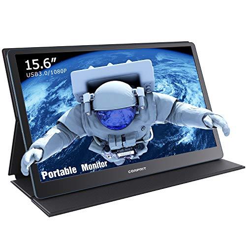 Portable USB 3.0 Monitor, Corprit 15,6 Zoll Tragbarer Monitor IPS Bildschirm 1920 x 1080 Full HD mit Mini HDMI für PC MAC Xbox PS3/4 Nintendo Switch mit Schutzhülle