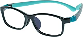 Kids Glasses Eyewear Frame Adjustable Flexible Cute with Square Clear Lense for Boys Girls (Age 5-12)