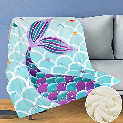WERNNSAI Meerjungfrau Decken - 125 x 150 cm Sherpa Fleece Flauschige Kuscheldecke für Mädchen Kinder Baby Shower Geburtstag Geschenke Sofa Couch Wohn Bett Decken Sofaüberwurf überwurf Decke