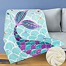 "WERNNSAI Mermaid Throw Blanket - 50"" × 60"" SherpaFleece Blankets for Girls Kids Baby Shower Birthday Gifts Couch Sofa Bedroom Nursery Bed Throws Blankets"