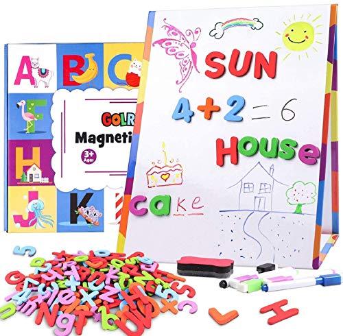 Magnétique Lettre Numéros avec Pliable Tableau Blanc Magnetique Enfant Desktop Tableau Chevalet Double Face Tableau ABC Alphabet Aimant de réfrigérateur Jouets éducatifs pour Tout-Petits Enfants