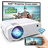 WiFi Mini Projector, BOMAKER Portable Projector, 5000 Lux, 1080P Supported, 300'' Display, Wireless