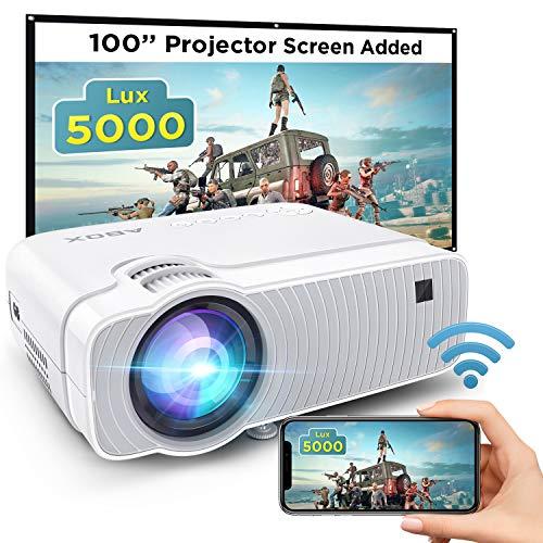 ABOX WiFi Beamer 5000 Lumen Unterstützt 1080P Full HD Bluetooth Wireless Projektor Max. 250'' Display Mini LED Dolby Sound kompatibel mit iPhone/Android Smart Phone/iPad/Mac/Laptop/PC
