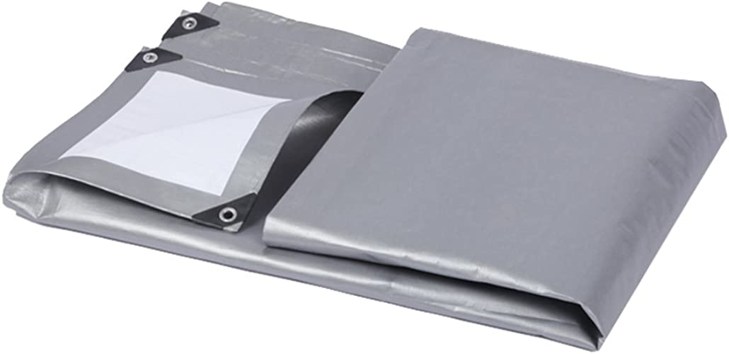 AJZGF Tissu Imperméable à l'eau Imperméable Bache, Parasol extérieur de Bache de Camion Antipoussière et Coupe-Vent, Cargaison Antipoussière et Isolation Thermique, gris + Blanc