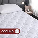 VERZEY Cooling Mattress Pad Cover Queen Size 100% Cotton Quilted Bed Topper with Down Alternative Filling (8-21' Deep Pocket Machine Washable)