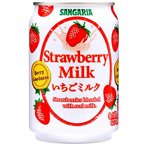 Japanese Sangaria Rich and Creamy Milk Tea Can 8.96 Fl oz (Strawberry, 24 Cans)