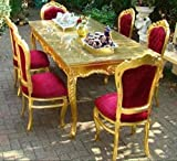 Casa Padrino Baroque Dining Room Set Bordeaux/Gold - Dining Table + 6 Chairs