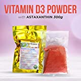 Vitamin D3 Pulver mit Astaxanthin, Familienpackung mit 3000 Portionen zu je 1000 IE D3, 300g