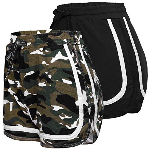 URATOT 2 Pack pantalones cortos casuales de algodón pantalones cortos deportivos Yoga Dance Running Shorts, Suave, M, negro, borgoña