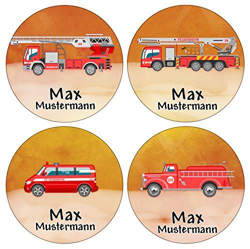 Sunnywall® Runde Aufkleber Namensaufkleber Federmappe Kinder & Erwachsene Namen Sticker Aufkleber Sticker 44 Stück Schule und Kindergarten - wasserfest (Feuerwehr)