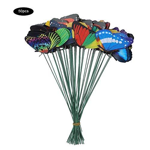 Rockyin 50PCS coloré Papillon sur Sticks Jardin Jardin Pelouse Artisanat Statues Art