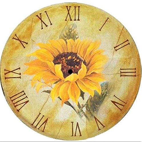 YSCOLOR Diamond Painting 5D Diamante Mosaico Punto De Cruz Pintura Decorativa Mosaico Amarillo Crisantemo Imágenes Reloj Decoración Adornos De Regalo Hechos A Mano 30X30cm