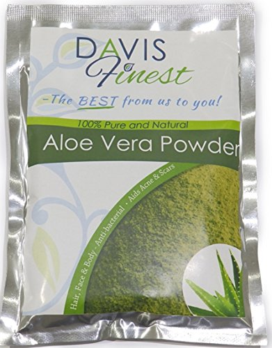 Davis Finest Aloe Vera Powder for Hair Growth & Skin Care - Moisturising, Hydrating, Cooling Face Mask for Dry Skin, Acne, Eczema, Scalp Treatment 100g